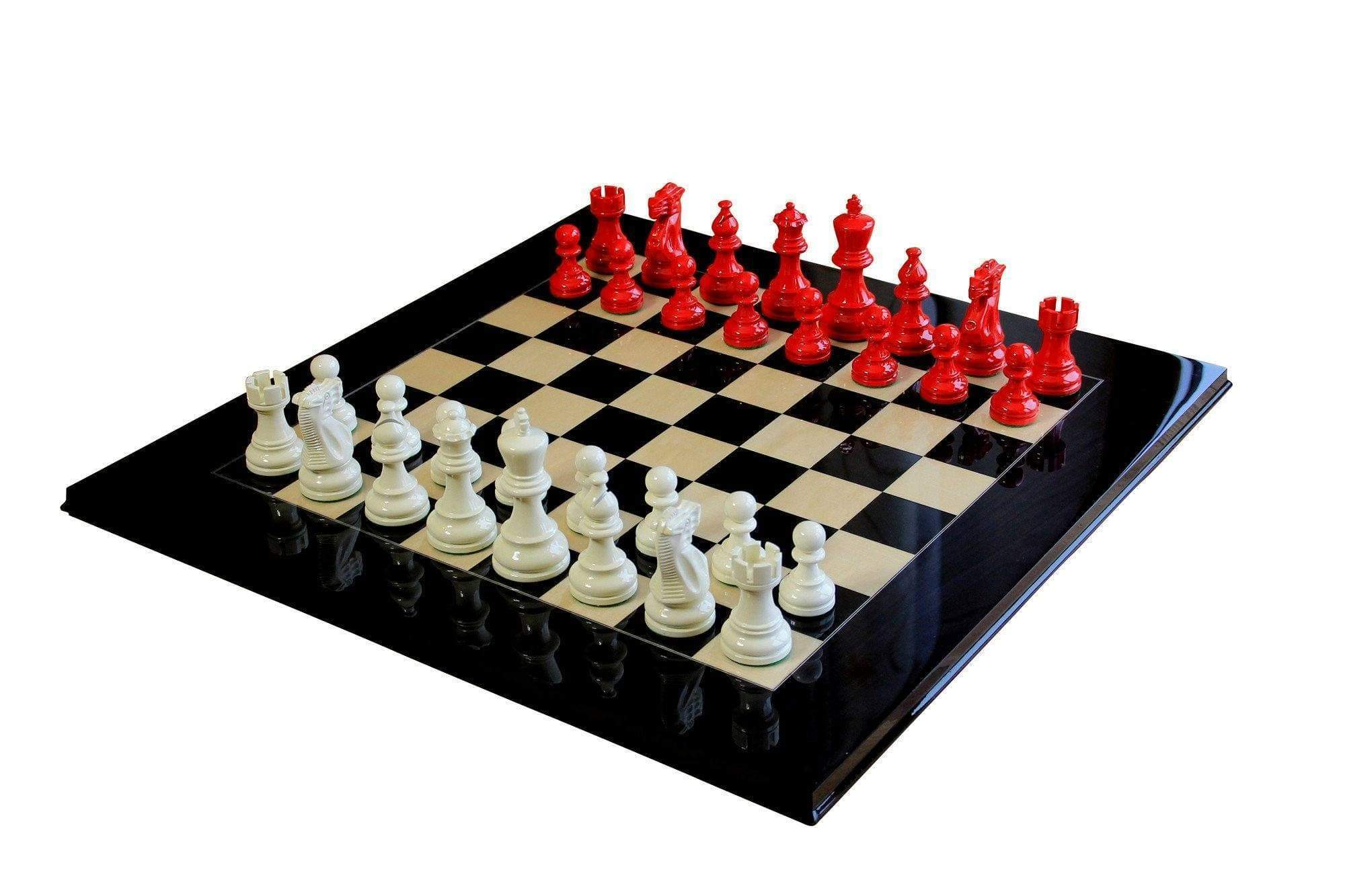 Atlantic Red Gloss & Cream Anegre Chess Set - Official Staunton™ Chess Company