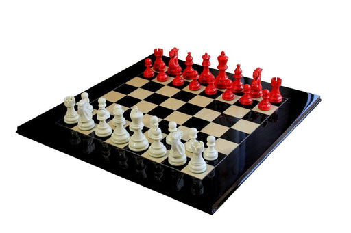 Atlantic Red Gloss & Cream Anegre Chess Set - Official Staunton™