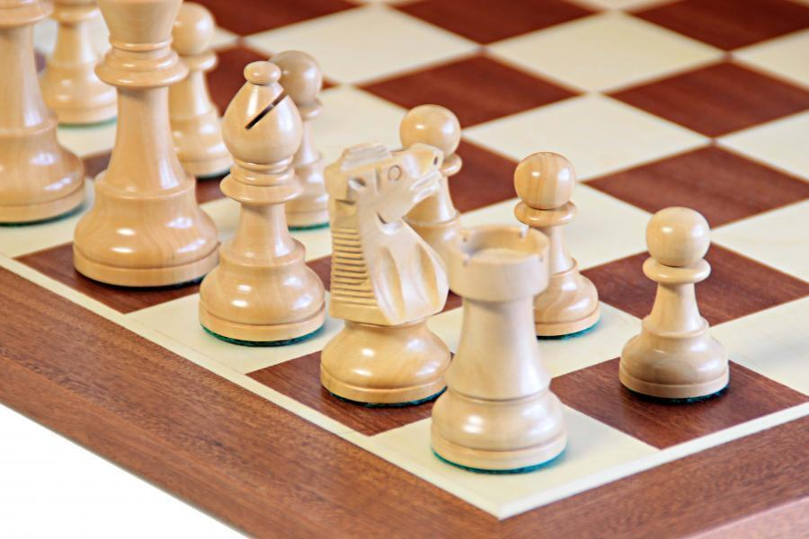 British Acacia Mahogany Chess Set & Box - Chess Set