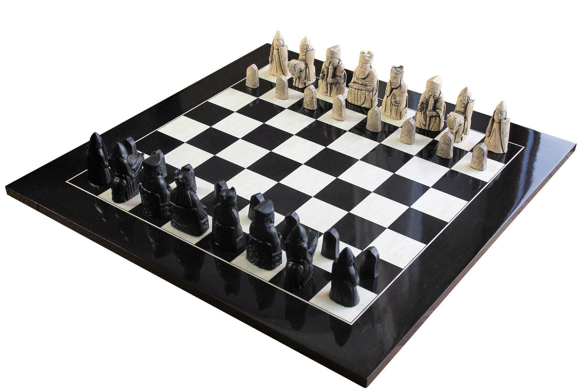Chess Set - Isle Of Lewis Luxury Anegre High Gloss Chess Set