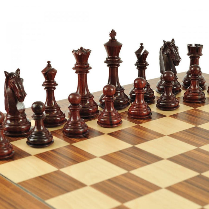 King Charles Colombian Padauk & Boxwood Chessmen - Official Staunton™ Chess Company
