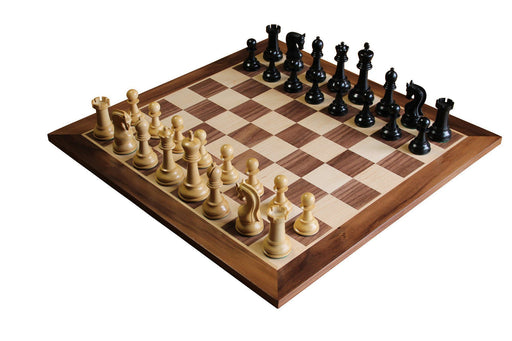 Leningrad Ebonised Chess Pieces & Walnut Board & Box - Official Staunton™
