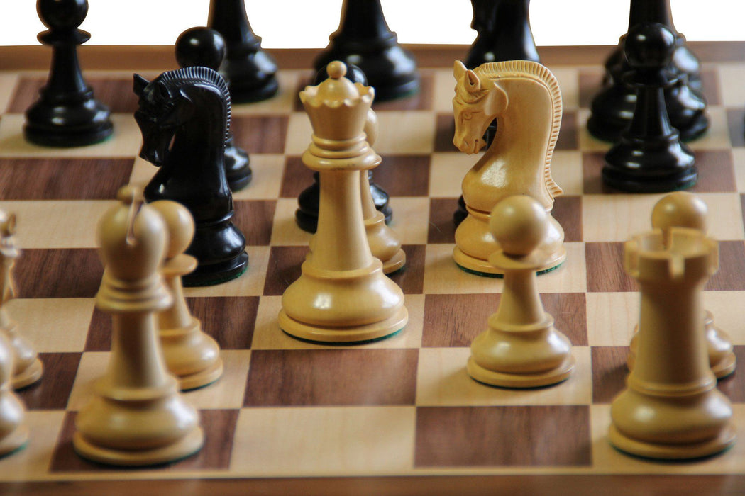 Leningrad Ebonised Chess Pieces & Walnut Chess Board - Official Staunton™