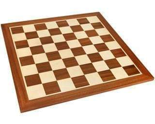 17.75 Inch Mahogany and Sycamore Chess Board - Official Staunton™