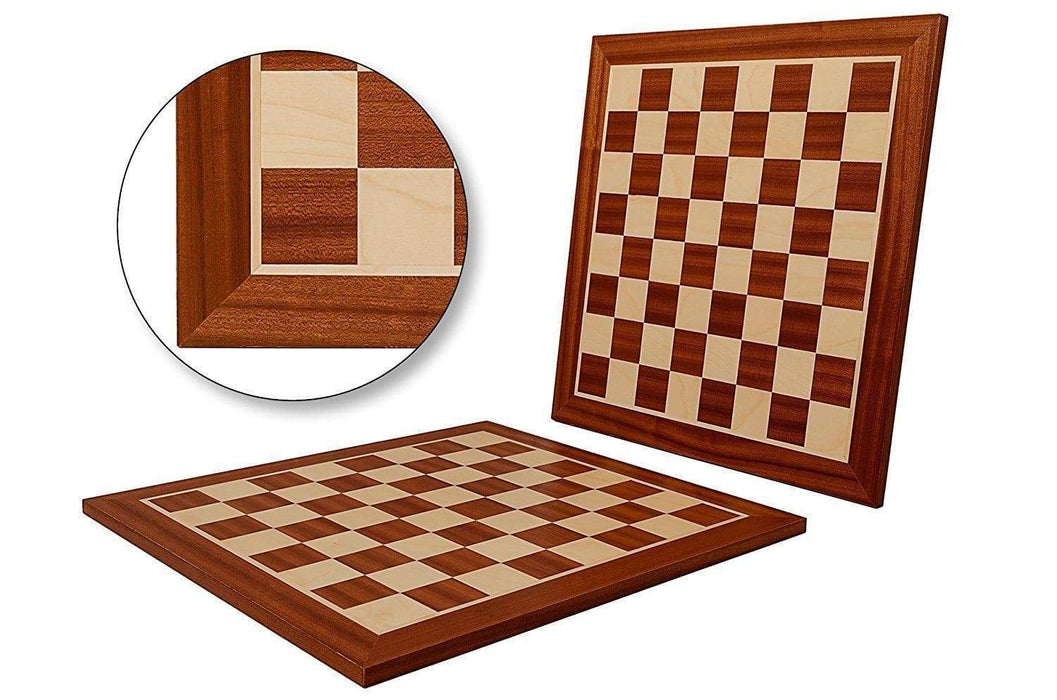 19 Inch Mahogany and Sycamore Chess Board - Chess Set