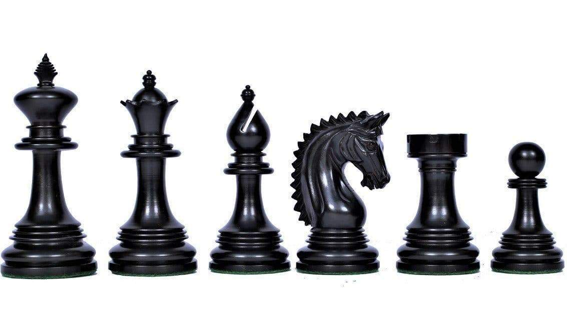 4.00 Inch Prestige Friesian Ebony Chess Pieces - Chess Set