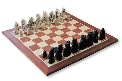 Isle of Lewis Ivory and Black Chessmen & Mahogany Chess Board - Chess Set