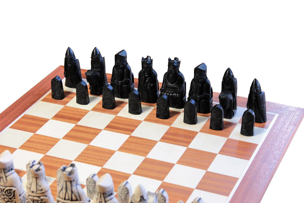 Isle of Lewis Ivory and Black Chessmen & Mahogany Chess Board - Official Staunton™ Chess Company