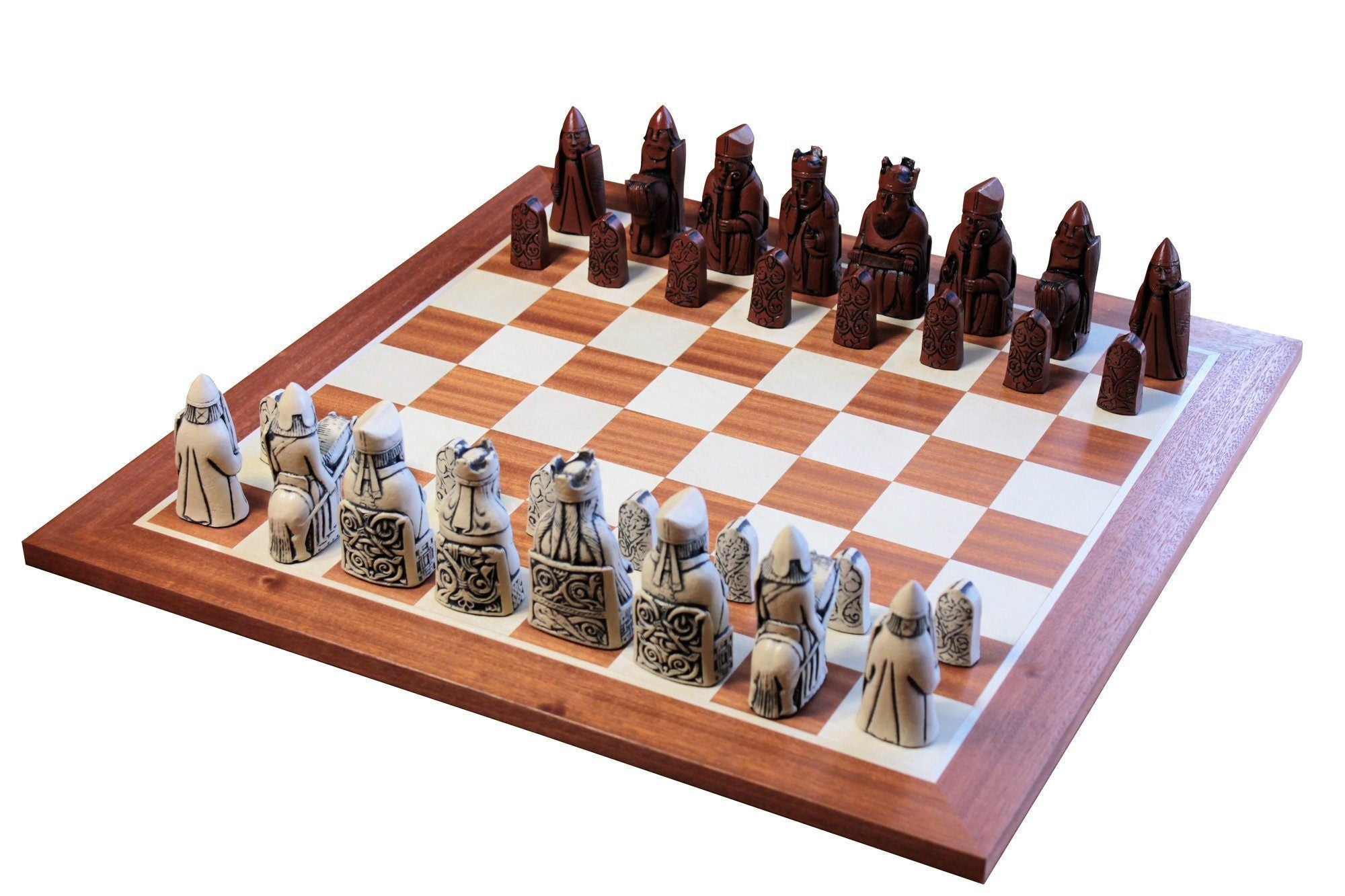 Chess Set - The Isle Of Lewis Ivory And Teak Chessmen & Mahogany Chess Board