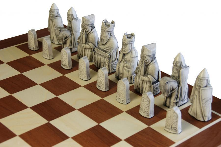 Isle of Lewis Ivory and Teak Chessmen & Mahogany Chess Board - Official Staunton™ Chess Company