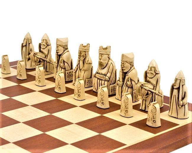 Isle of Lewis Mahogany Chessmen & Chess Board - Chess Set