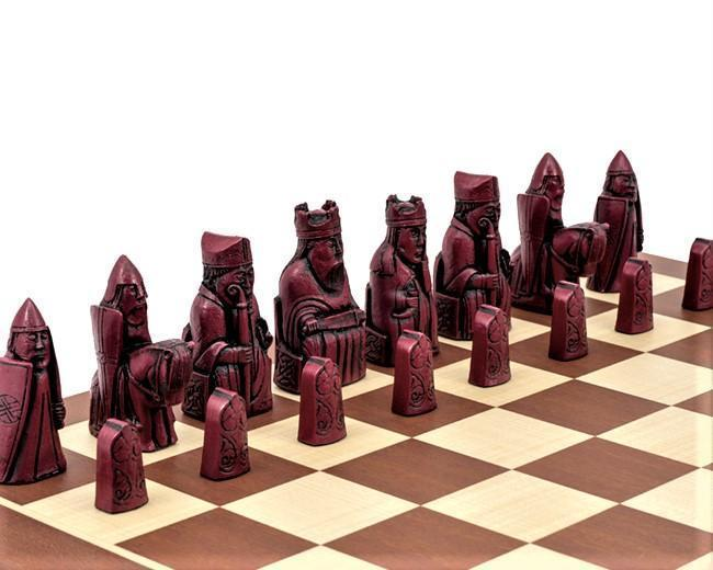 Isle of Lewis Mahogany Chessmen & Chess Board - Official Staunton™ Chess Company