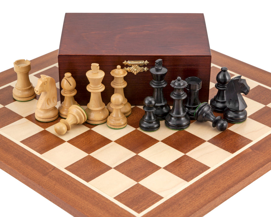 Classic Ebonised Mahogany Wooden Chess Set & Box - Official Staunton™