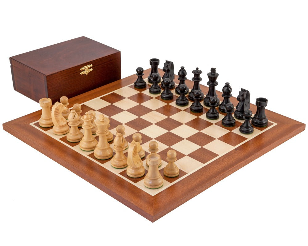 "15.75 "" Classic Ebonised Mahogany Wooden Chess Set & Box - Official Staunton™"