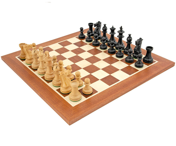 19 Inch British Flower Black Mahogany Chess Set - Official Staunton™