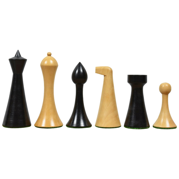 "3.6"" Herman Ohme Boxwood and Black Chess Pieces - Official Staunton™"