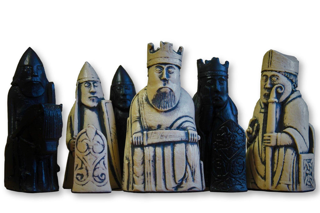 Isle of Lewis Ivory and Black Chessmen & Mahogany Chess Board - Official Staunton™