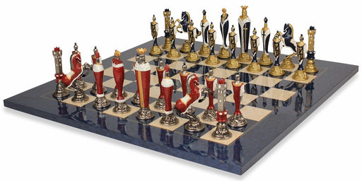 Artisan Renaissance Brass and Nickel Blue Erable Chess Set - Official Staunton™
