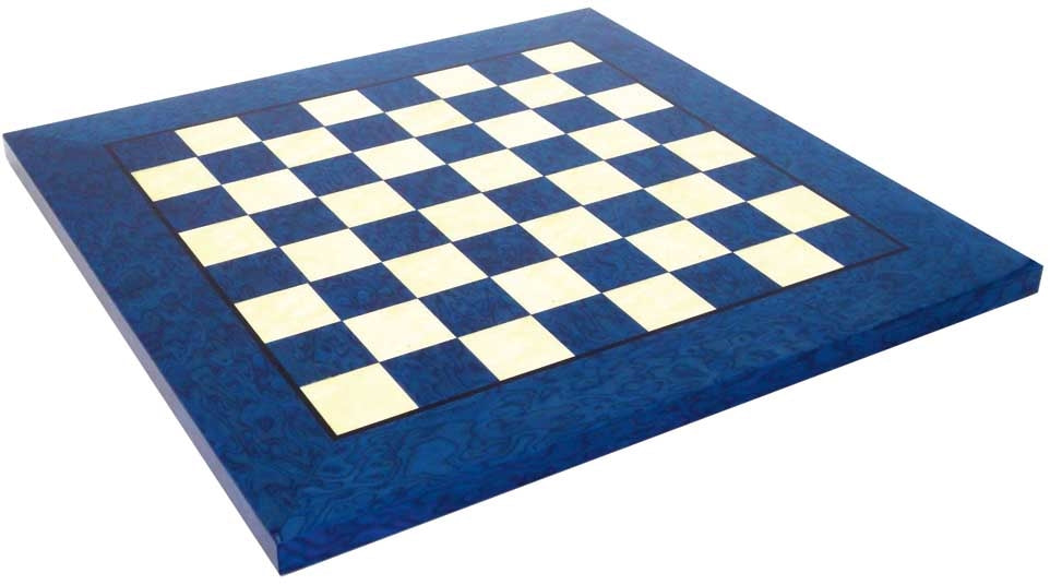 "20"" Italian Prestige Blue Erable Briar wood Chess Board - Official Staunton™"