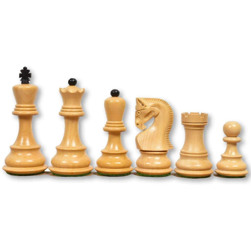 3.75 Inch Zagreb Black and Boxwood Chess Pieces - Official Staunton™