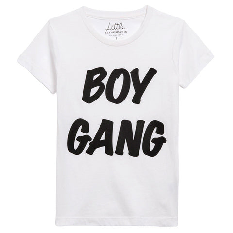 Little Eleven Paris - White 'Boy Gang' Cotton Jersey T-Shirt-T-Shirt-Sweet Peas Kidswear