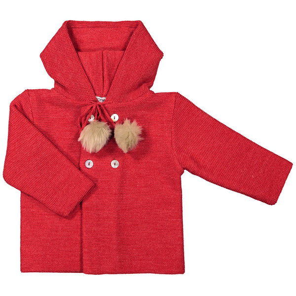 Mebi - Red Knitted Pram Coat with Hood-Pram Coat-Sweet Peas Kidswear