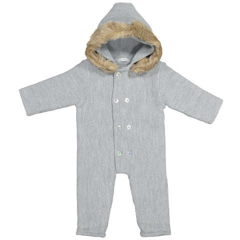 Mebi - Grey Knitted Footless Pramsuit with Fur Hood-Pramsuit-Sweet Peas Kidswear