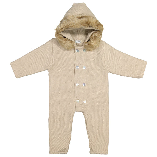 Mebi - Beige Knitted Footless Pramsuit with Fur Hood-Pramsuit-Sweet Peas Kidswear
