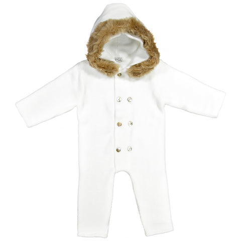 Mebi - White Knitted Footless Pramsuit with Fur Hood-Pramsuit-Sweet Peas Kidswear