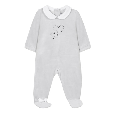 Absorba - Baby Girls Grey Swarovski Babygrow-Baby Grow-Sweet Peas Kidswear