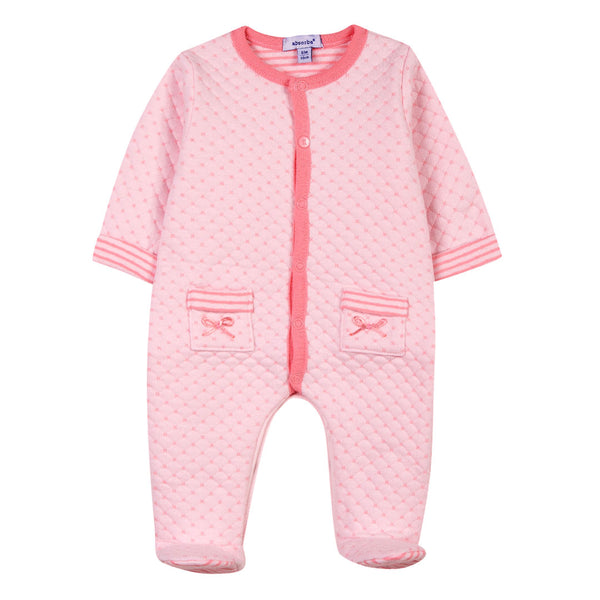 Absorba - Baby Girls Pink Quilted Babygrow-Baby Grow-Sweet Peas Kidswear