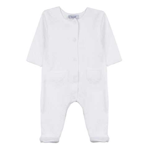 Absorba - Unisex White Quilted Babygrow-Baby Grow-Sweet Peas Kidswear