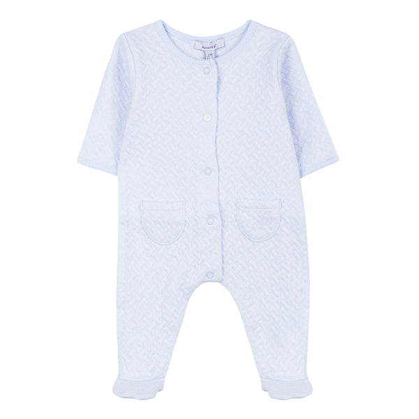 Absorba - Baby Boys Baby Blue Quilted Babygrow-Baby Grow-Sweet Peas Kidswear