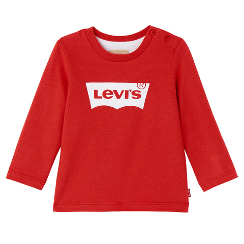 Levi's - Baby Boys Long Sleeved Red Levi's 'Batwing' Logo T-Shirt-T-Shirt-Sweet Peas Kidswear