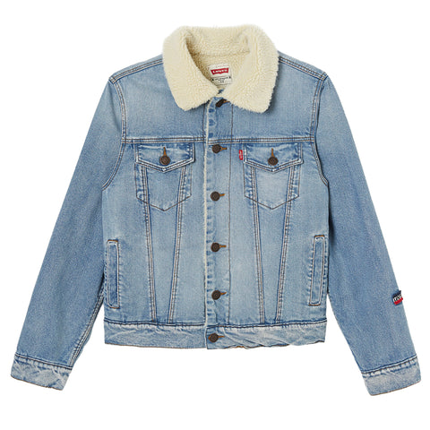 Levi's - Boys Blue Denim Sherpa Jacket-Coat-Sweet Peas Kidswear