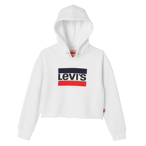 Levi's - Girls White Cropped Hooded Sweatshirt