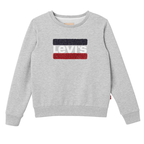 Levi's - Girls Grey Glitter Cotton Levi's Logo 'Batwing' Sweatshirt
