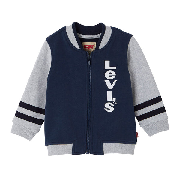 Levi's - Boys Navy and Grey Logo Zip-Up Top
