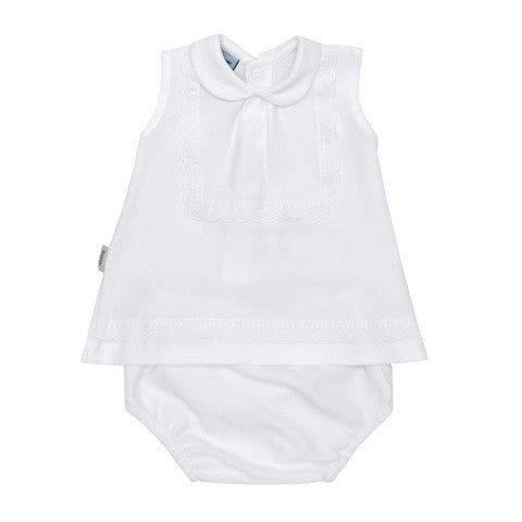 Babidu - Baby Girls White Top & White Shorts 2 Piece Set-Outfit Set-Sweet Peas Kidswear