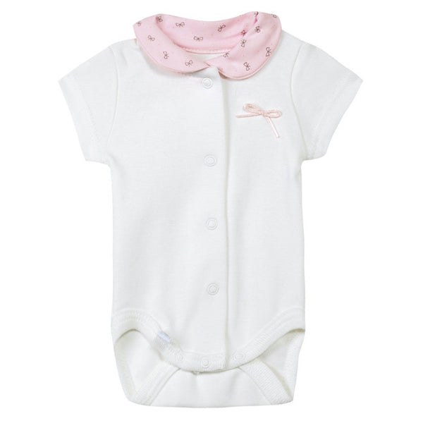 Absorba - Baby Girls Ivory Bodyvest with Pink Collar-Bodyvest-Sweet Peas Kidswear