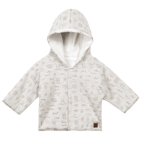 Absorba - Unisex Grey Cotton Jersey Hooded Coat with Fleece Lining-Coat-Sweet Peas Kidswear