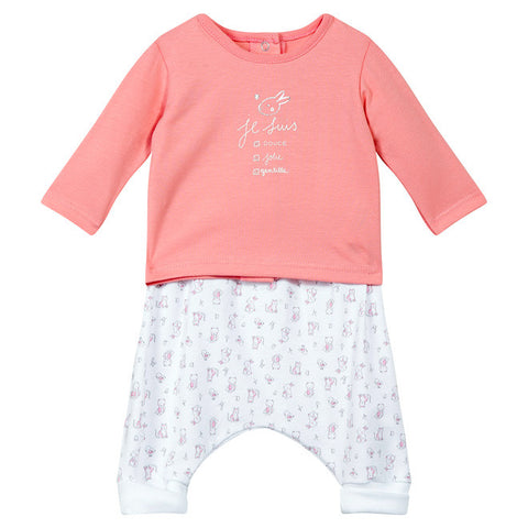 Absorba - Baby Girls Coral Pink 2 Piece Outfit Set-Outfit Set-Sweet Peas Kidswear