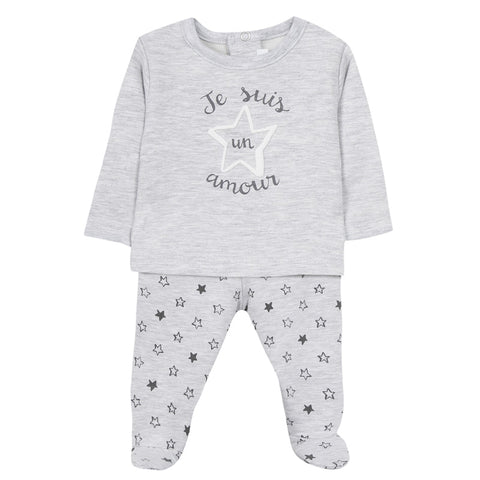 Absorba - Unisex Grey 'Je Suis' 2 Piece Outfit Set-Outfit Set-Sweet Peas Kidswear