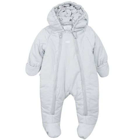 Absorba - Light Grey Padded Snowsuit with Hood-Pramsuit-Sweet Peas Kidswear