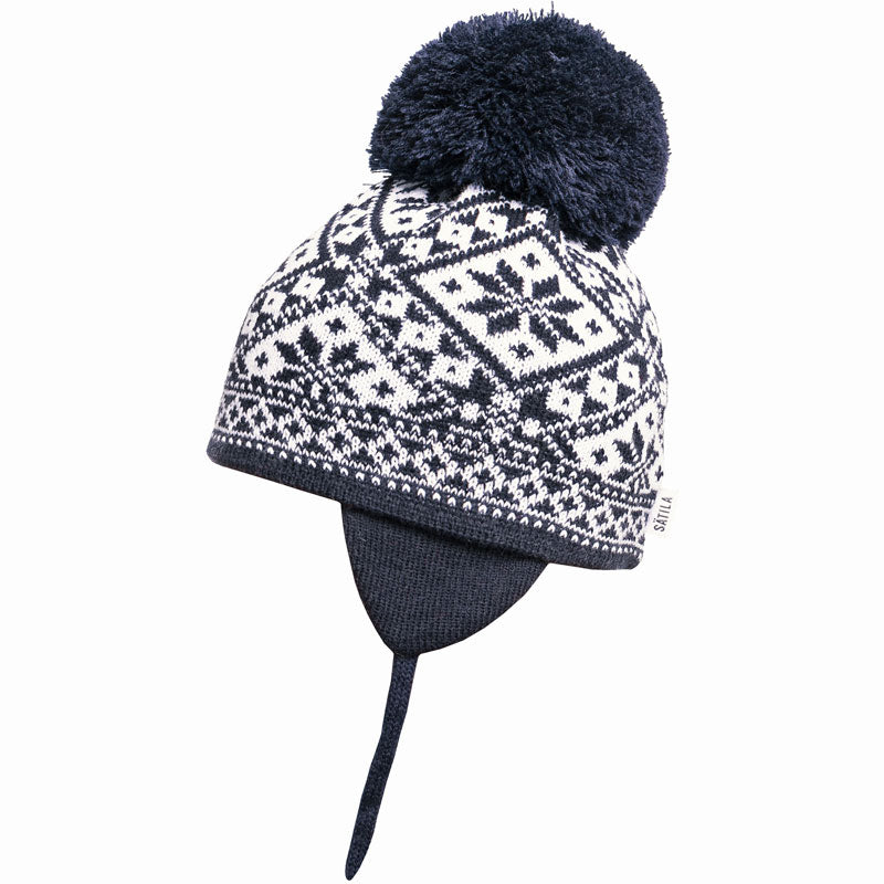 Satila of Sweden - Navy Fairisle Knitted Large Pom-Pom Hat-Hat-Sweet a31612d4adf