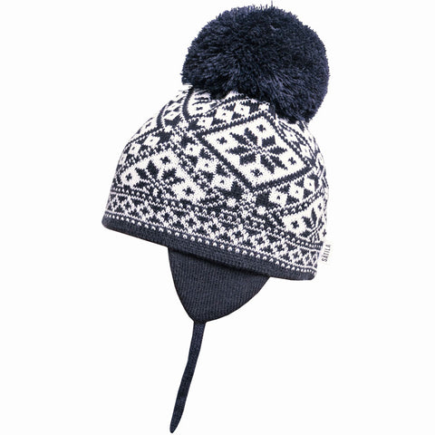 Satila of Sweden - Navy Fairisle Knitted Large Pom-Pom Hat-Hat-Sweet Peas Kidswear