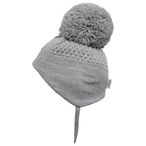 Satila of Sweden - Alvin Grey Knitted Big Pom Hat-Hat-Sweet Peas Kidswear