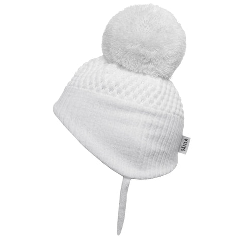 Satila of Sweden - Alvin White Knitted Big Pom Hat-Hat-Sweet Peas Kidswear