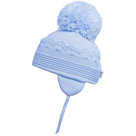 Satila of Sweden - Belle Baby Blue Knitted Big Pom Hat-Hat-Sweet Peas Kidswear