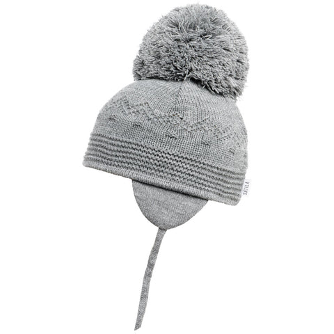 Satila of Sweden - Belle Grey Knitted Big Pom Hat-Hat-Sweet Peas Kidswear